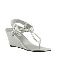 Dyeables Silver Shimmer Mila Prom Bridal Wedge Sandal Beach Summer Women's Shoes