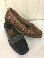 Hush Puppies Dahshur Black/Camel Leather Loafers Flat Moccasins Size 6-10 WIDE
