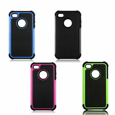 For iPhone 4 / 4S Black Rugged Rubber Matte Hard Case Cover w/ Screen Protect O7