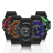 Shock Resist Digital Rubber Band Sport Date Stopwatch LED Men Wrist Watch F5