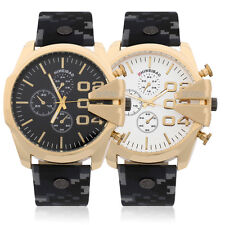 Men's Large Display Round Dial Faux Leather Band Quartz Wrist Watch Gifts O6