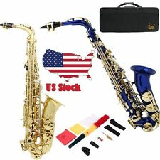 NEW BLUE/GOLD LACQUER BRASS Eb ALTO SAXOPHONE SAX W/ TUNER,CASE,CAREKIT,11 REEDS