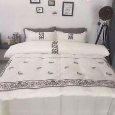 1000TC Egyptian Cotton Shabby Chic White Embroidery Quilt Doona Duvet Cover Set