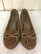 Hush Puppies Mazunte Camel/White Leather Loafers Flat Moccasins Size 6-9.5 WIDE