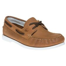 New Mens Lacoste Tan Navire Premium Leather Shoes Boat Lace Up