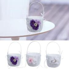 Chic Wedding Party Satin Flower Girl Basket Bowknot Crystal Pearl Decoration