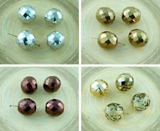 6pcs Large Metallic Round Czech Glass Faceted Fire Polished Beads Christmas 14mm