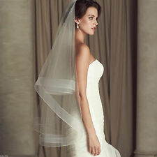 new 2 layer tulle white / ivory fingertip veil bridal wedding veils with comb