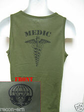 PARARESCUE TANK TOP/ MEDIC/ T-SHIRT/ CUSTOM/ / OD GREEN/ MILITARY/  NEW