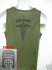 82ND AIRBORNE RANGER od green TANK TOP T-SHIRT/ MEDIC/ combat/ / MILITARY/  NEW
