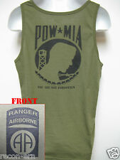 82ND AIRBORNE RANGER od green TANK TOP T-SHIRT/ IRAQ COMBAT OPS/ MILITARY/  NEW