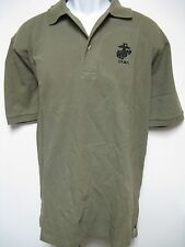USMC EMBROIDERED POLO T-SHIRT/ MILITARY OD GREEN COLOR/ NEW