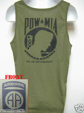 82ND AIRBORNE od green TANK TOP T-SHIRT/ POW MIA / MILITARY/  NEW
