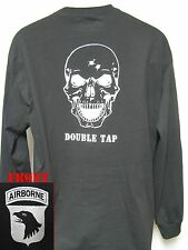 101 AIRBORNE LONG SLEEVE T-SHIRT/ BLACK/ SKULL DOUBLE TAP/ ARMY T-SHIRT/MILITARY