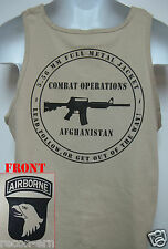 101ST AIRBORNE TANK TOP/ AFGHANISTAN COMBAT OPS/  MILITARY TAN / ARMY / NEW
