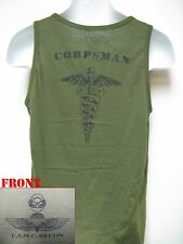 USMC RECON TANK TOP/ OD/ NAVY CORPSMAN/ MARINES T-SHIRT/ MILITARY/ NEW