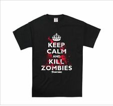 Mens 'Keep Calm Kill Zombies' Clothing Funny Graphic T Shirts Tees- 100% Cotton