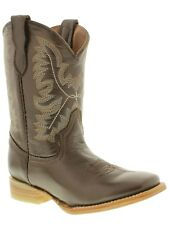 boys kids youth smooth brown real leather western cowboy boots toddler new