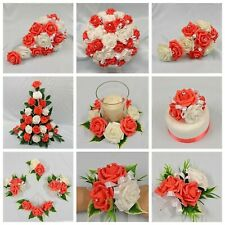 WEDDING FLOWERS BRIDE BRIDESMAID FLOWER GIRL BOUQUET WAND CORSAGE PACKAGE CORAL