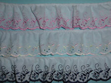 """Quality Gathered Broderie Anglaise Cotton Lace Trim 2.5""""/6cm - PER METRE -"""