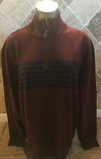NWT Nautica Men's Half Zip Pull Over Sweater Red/ Blue Stripes