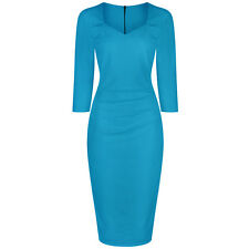 Turquoise Blue Green Pencil Wiggle Bodycon Wedding 3/4 Sleeve 40s Cocktail Dress