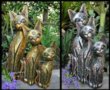 ~SET OF 3 HAND CARVED WOODEN CAT FAMILY~Bali Statue Figurine Balinese Cats Decor