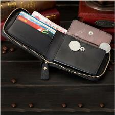 Genuine Leather Men Bifold Clutch Wallet Credit Card Holder Coin Purse ID Window