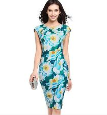 Women Summer Vintage Flower Print Sleeveless Sheath Bodycon Party Pencil Dress