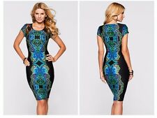 Women O-neck Lace Casual Knee-length Short Sleeve Printed Dress