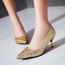 Womens Sexy Slip on Kitten Heel Pointy Toe Pumps Glitter Sequins Party Shoes Sz