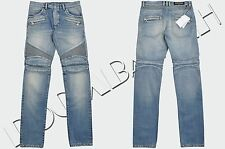 BALMAIN 1600$ Authentic New Light Blue Cotton Slim Signature Biker Jeans FW16/17