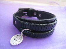 UNISEX Real Black Leather Bracelet Adjustable Double Layer Cuff Birthday Gift