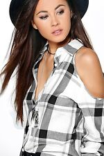 Women  Plaid Open Shoulder Small Check  Long Sleeve White And Black Shirt