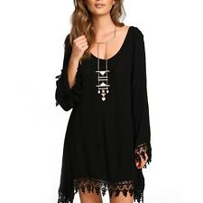 Women Casual V-Neck Loose Long Sleeve Black Party Maxi Dress