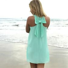 Women Summer Casual Sleeveless Bow Sundress Plus Size Chiffon Beach Dress