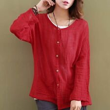 Women Solid Red White  Shirt Long sleeve Summer Causal Loose Top