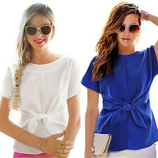 Women Summer Chiffon Blue Short Sleeves Bottoming Shirt O Neck Top Blouse