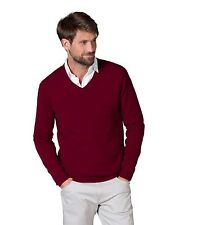 WoolOvers Mens New Cashmere V Neck Long Sleeve Casual Top Sweater Jumper