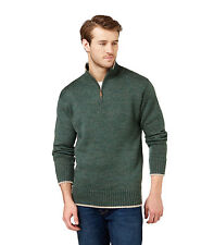 WoolOvers Mens Pure Wool Chunky Zip Neck Long Sleeve Casual Top Sweater Jumper