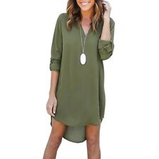 Women's Plunging Neck Chiffon Dress Long Sleeve Tunic Shirt Front Short Dress