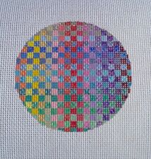 Beautiful Hand Painted HP Round Ornament Needlepoint Canvas 18 mesh Bargello