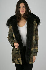 NEW Women Winter Coat Ladies Hooded Faux Fur Lined Camouflage Hooded Parka Coat