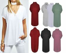 Womens Ladies Polo Turtle Choker Neck Cap Sleeve Keyhole Cut Swing T Shirt Top