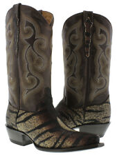Women's Brown Genuine Stingray Skin Tiger Striped Leather Cowboy Boots