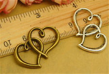 5/20/100pcs Lot Tibetan Silver Double hearts Jewelry Charm Pendant 31x22mm