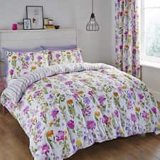 CATHERINE LANSFIELD FLORAL MEADOW REVERSIBLE BEDDING QUILT DUVET COVER SET PINK