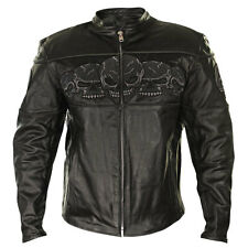 BXU6050 Reflective Skull Cowhide Leather Armored Motorcycle Jacket