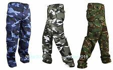 MENS MILITARY COMBAT ARMY TROUSERS CAMO CAMOUFLAGE PRINT WORK  CARGO PANTS