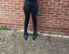 M&S black faux skinny slim fit high rise trousers uk size 14-16